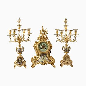 19th Century Clock Set in Gilt and Champleve Bronze, Set of 3