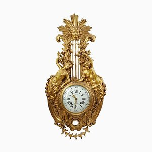 Large Gilt Bronze Cartel Clock, 19th Century