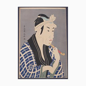 Portrait of Man with a Pipe - Woodcut Print after Utagawa Kuniyoshi