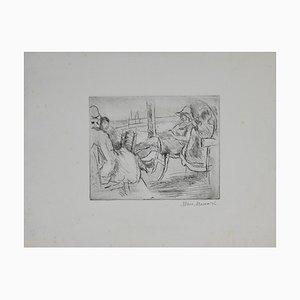 Mino Maccari - At the Sea - Escultura original con aguafuerte - 1925/1930