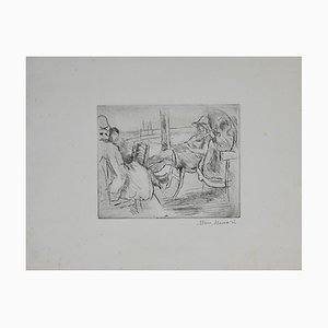 Mino Maccari - At the Sea - Original Etching and Drypoint - 1925/1930