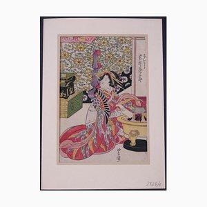 Utagawa Toyokuni II - The Japanese Tea Ritual - Original grabado sobre madera - década de 1850