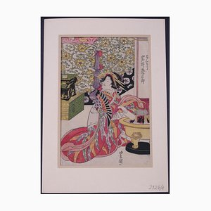 Utagawa Toyokuni II - The Japanese Tea Ritual - Original Woodcut Print - 1850s