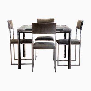 Vintage Spieltisch mit Stühlen von Willy Rizzo, Italien, 1970er, 5er Set