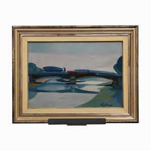 Olio su tela di Antonio Vangelli - Ponte Garibaldi, Roma - 1941