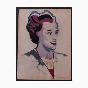 Nicola Simbari - Woman - Original Watercolor - 1960s