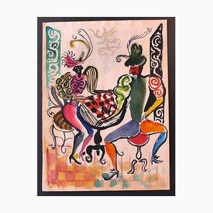 Nicola Simbari - Bailarines - Dibujo original - años 60