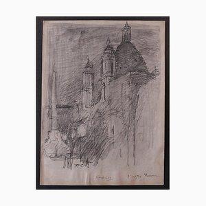 Nicola Simbari - Piazza Navona - Lápiz de dibujo original - años 60