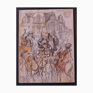 Nicola Simbari - Charlatan - Lápiz original con dibujo en acuarela - años 60