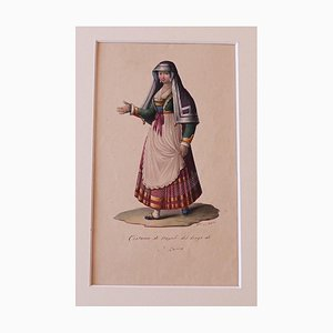 Michela De Vito - Costume of Naples - Original Ink and Watercolor - 1830s