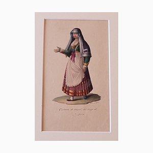 Michela De Vito - Traje de Nápoles - Tinta original y acuarela - Década de 1830