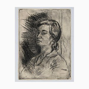 Mino Maccari - Porträt der Frau - Original Kaltnadelradiererei - 1929
