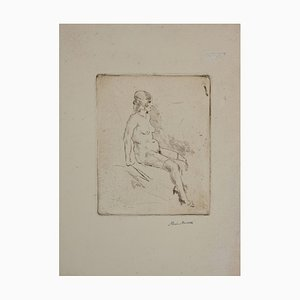 Mino Maccari - Desnudo de mujer - Original Drypoint - 1929