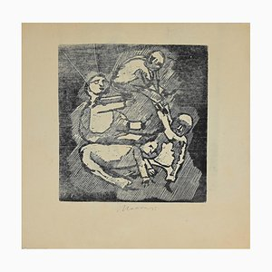 Mino Maccari, Figures, Drypoint, 1945