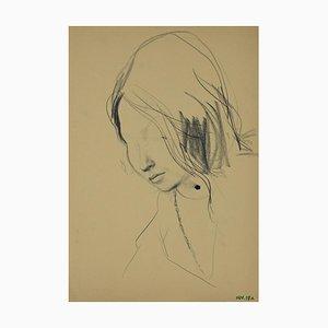 Leo Guida - Retrato de mujer - Dibujo original de carbón vegetal - años 70