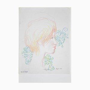 Leo Guida - Female Portrait - Original Pencil and Ink - 1970