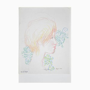 Leo Guida - Retrato femenino - Lápiz original y tinta - 1970