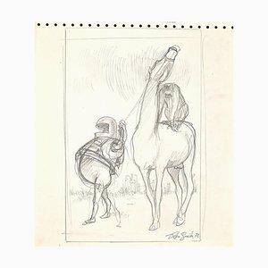 Leo Guida - Escena fantástica - Lápiz de dibujo original - años 70
