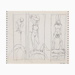 Tríptico Leo Guida - Lápiz de dibujo original - años 70