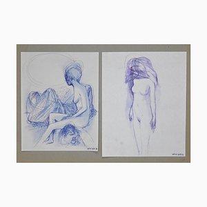 Leo Guida - Desnudo doble - Dibujos originales de tinta - años 70
