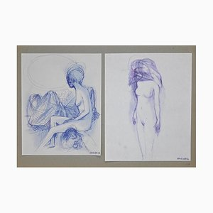 Leo Guida - Double Nude - Original Ink Drawings - 1970s