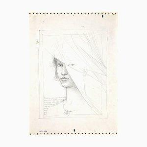 Guía Leo, figura femenina, lápiz, años 80