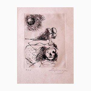 Grabado - Figura - Henri Espinouze original - Mid-20th Century