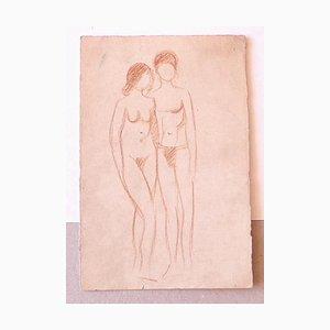 Figuras desnudas - Dibujo original en sangulina - Mid-20th Century