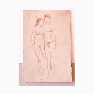 Figure nude - Original Drawing in Sanguine - Mid-20th Century