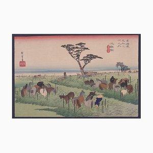 Utagawa Hiroshige - A Horse Fair, Chiryu - Woodcut Print - Late 19th Century
