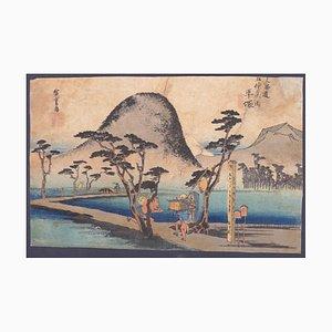 Grabado xilografía Utagawa Hiroshige - Hiratsuka - 1847