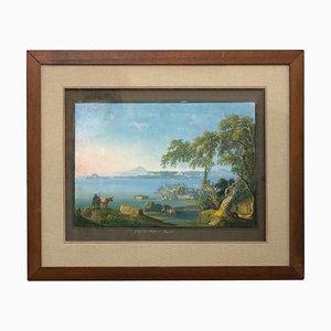 Golfo y la bahía de Pozzuoli - Gouache napolitano original - Siglo XIX