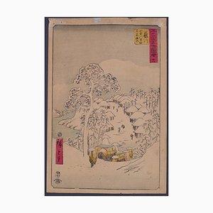 Aldea Yamanaka cerca de Fujikawa - Original grabado en madera después de Utagawa Hiroshige - década de 1850