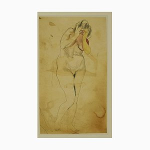 Nackte Lady - Offsetdruck nach Renato Guttuso - spätes 20. Jahrhundert