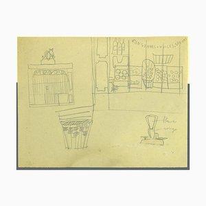 Interior of Grocery Store - Dibujo a lápiz francés original - Mid-20th Century