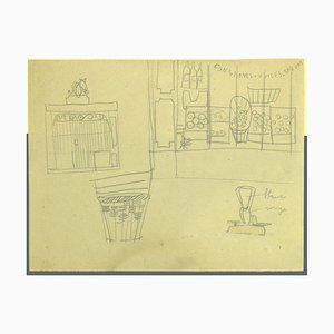 Interior of Grocery Store - Original French Pencil Drawing - Mid-20th Century
