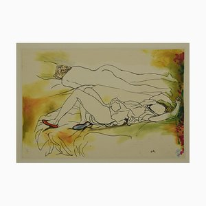 Woman Lying, Offset de Renato Guttuso, finales del siglo XX