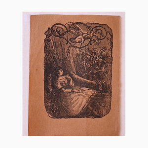 Sleeping Girl - Litografía original - siglo XIX