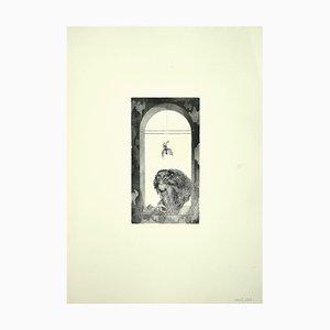 Aguafuerte original de Leo Guida - The Monkey - años 70