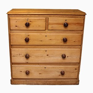 Cassettiera vittoriana in legno di pino