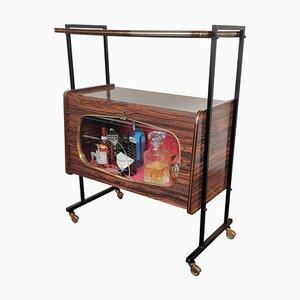 Mueble bar italiano Regency de madera y latón, años 50