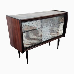 Mueble italiano Regency de mosaico de madera y espejo, años 50