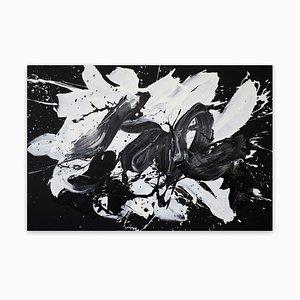 Nikolaos Schizas, blanco y negro, pintura abstracta, 2021, acrílico sobre lienzo
