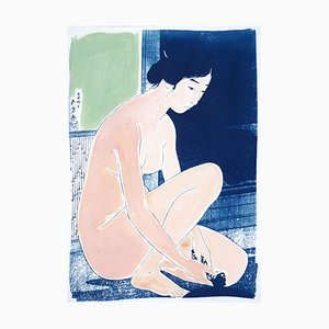 Hashiguchi Goyo Ukiyo-E inspirado, cianotipo desnudo, pintura en tonos pastel, 2021