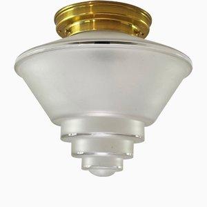Large Vintage Art Deco Brass Cone Ceiling Lamp