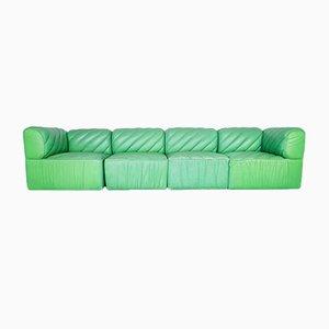 Divano modulare in pelle verde, anni '70, set di 4