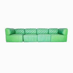 Modular Green Leather Sofa, 1970s, Set of 4