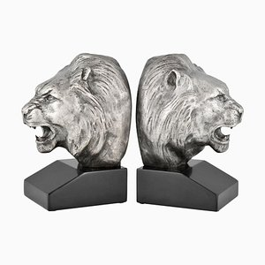 Französische Art Deco Bronze Löwen Buchstützen von Georges Raoul Garreau, 1930er, 2er Set