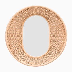Runder Vintage Spiegel aus geflochtenem Rattan