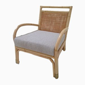 Rattan, Cane, and Brass Armchair